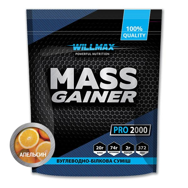 Гейнер Willmax Mass Gainer 2кг Апельсин